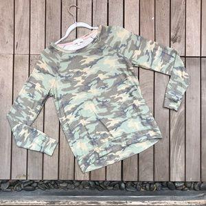 PJ SALVAGE Green Camo Print Long Sleeve Sweater